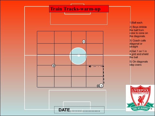 Train Tracks-warm-up 3 2 1 1)Ball each. 2) Boys dribble the ball from cone to cone on the diagonals. 3) Coach calls diagon...