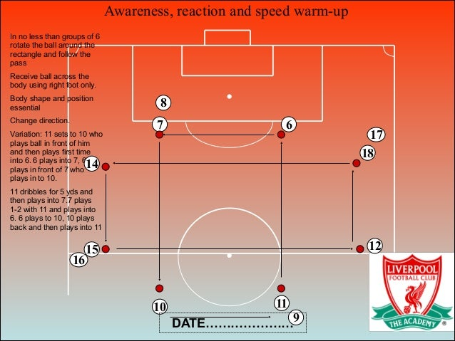 Awareness, reaction and speed warm-up 6 16 7 10 11 ! ) In no less than groups of 6 rotate the ball around the rectangle an...