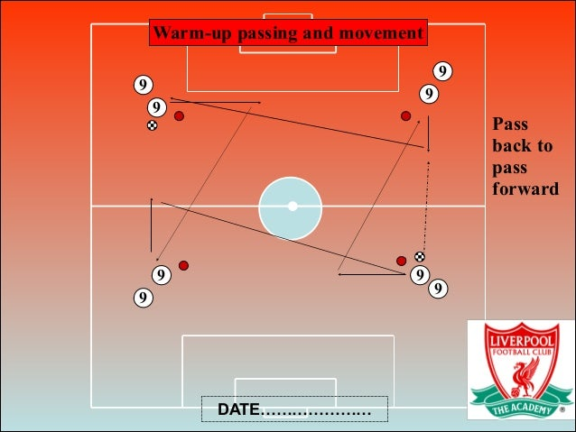 Warm-up passing and movement Pass back to pass forward 9 9 9 9 9 9 9 9 DATE…………………