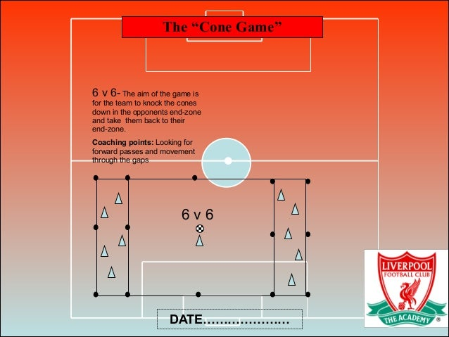 """The """"Cone Game"""" DATE………………… 6 v 6 6 v 6- The aim of the game is for the team to knock the cones down in the opponents end-..."""