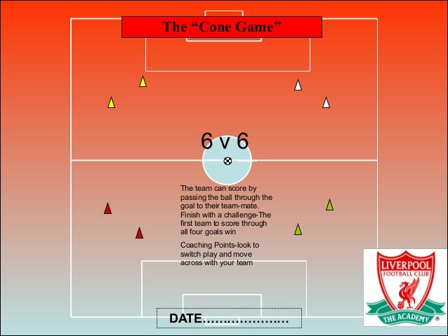 """The """"Cone Game"""" DATE………………… 6 v 6 The team can score by passing the ball through the goal to their team-mate. Finish with ..."""