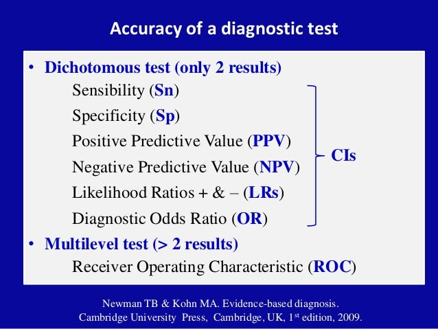 Accuracy of a diagnostic test • Dichotomous test (only 2 results) Sensibility (Sn) Specificity (Sp) Positive Predictive Va...