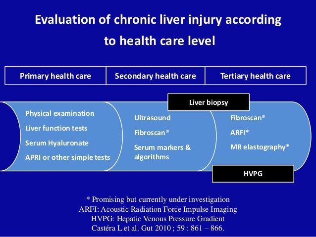 Evaluation of chronic liver injury according to health care level Physical examination Liver function tests Serum Hyaluron...