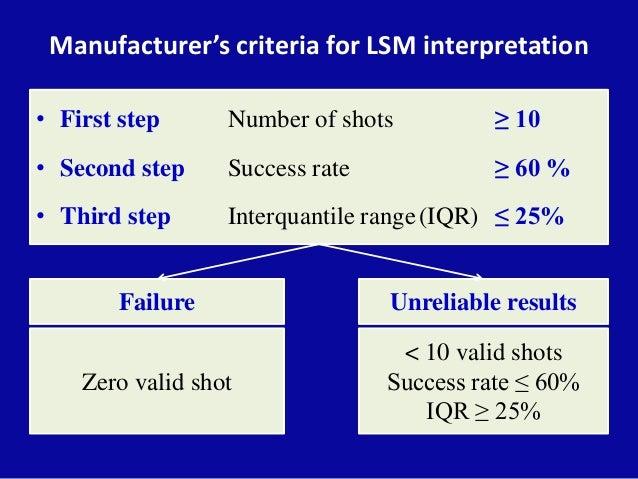 Manufacturer's criteria for LSM interpretation • First step Number of shots ≥ 10 • Second step Success rate ≥ 60 % • Third...