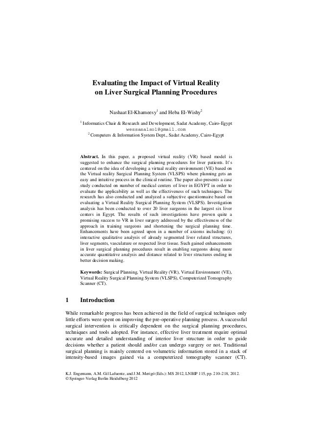 Evaluating the Impact of Virtual Reality                 on Liver Surgical Planning Procedures                        Nash...