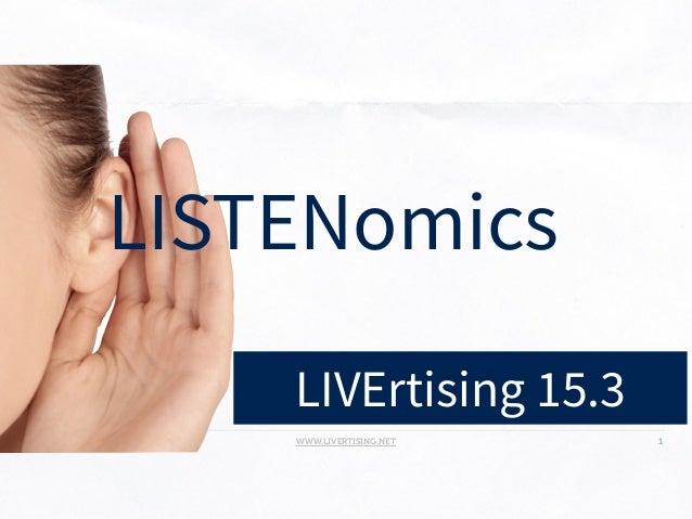 WWW.LIVERTISING.NET LIVERTISING - IHECS - BRUSSELS - 2014 1 LIVErtising 15.3 LISTENomics
