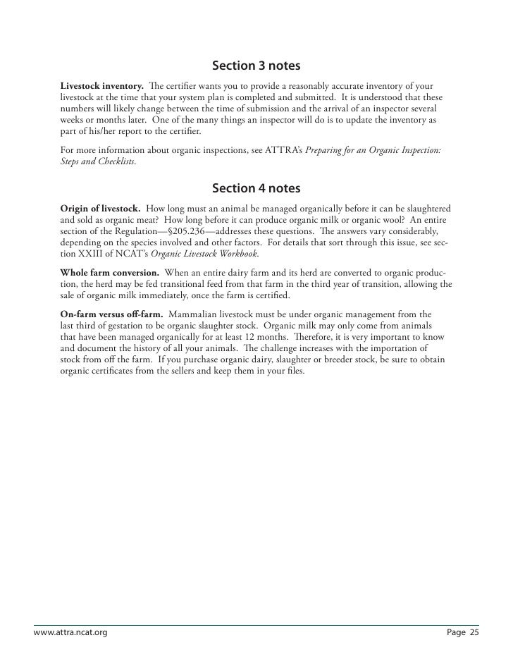 Organic System Plans: Livestock Production