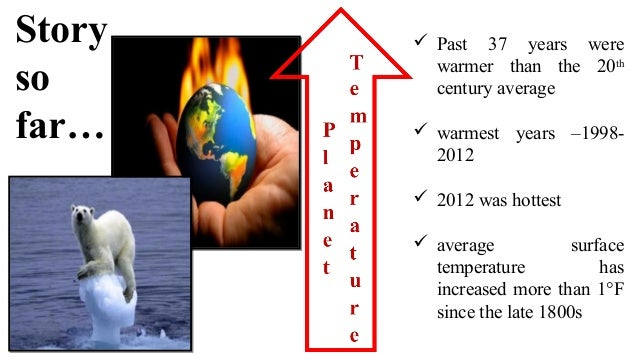 Story so far…  Past 37 years were warmer than the 20th century average  warmest years –1998- 2012  2012 was hottest  a...