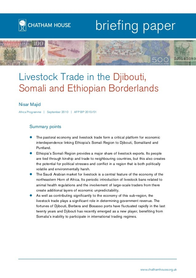 page1 briefing paper Livestock Trade in the Djibouti, Somali and Ethiopian Borderlands Nisar Majid Africa Programme | Sept...