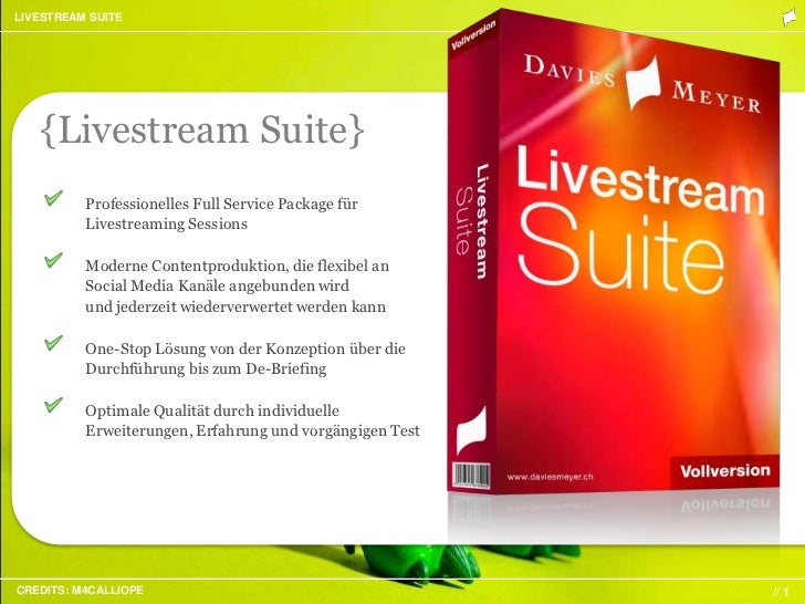 LIVESTREAM SUITE   {Livestream Suite}          Professionelles Full Service Package für          Livestreaming Sessions   ...