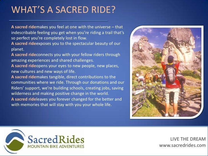 Liability coverage under our insurance package</li></ul>LIVE THE DREAM<br />www.sacredrides.com<br />