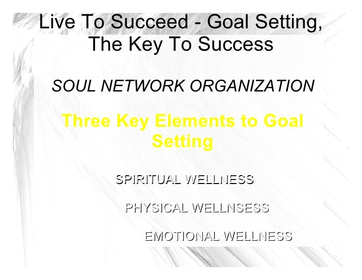 Live To Succeed - Goal Setting, The Key To Success SOUL NETWORK ORGANIZATION Three Key Elements to Goal Setting SPIRITUAL ...