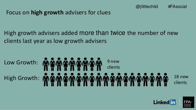 Focus on high growth advisers for clues High growth advisers added more than twice the number of new clients last year as ...
