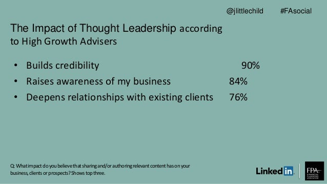 The Impact of Thought Leadership according to High Growth Advisers Q: Whatimpactdoyoubelievethatsharingand/orauthoringrele...