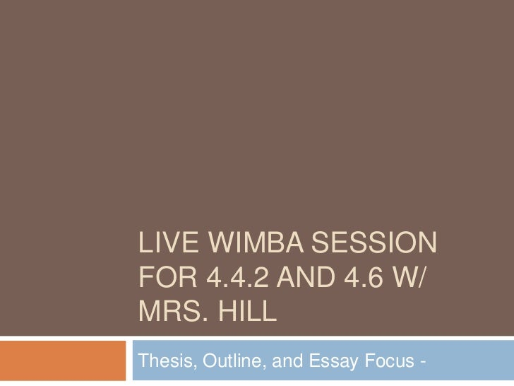 Live Wimba Session for 4.4.2 and 4.6 w/ Mrs. Hill<br />Thesis, Outline, and Essay Focus - <br />