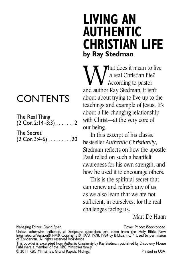 LIVING AN                                           AUTHENTIC                                           CHRISTIAN LIFE    ...
