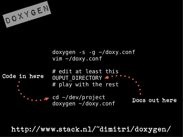 ygendox               doxygen -s -g ~/doxy.conf               vim ~/doxy.conf               # edit at least thisCode in he...