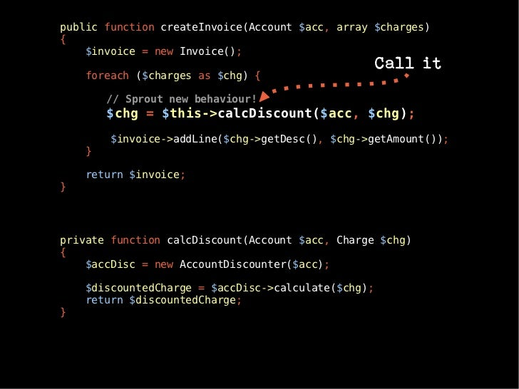 public function createInvoice(Account $acc, array $charges){    $invoice = new Invoice();                                 ...