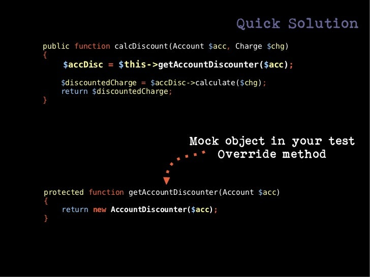 Quick Solutionpublic function calcDiscount(Account $acc, Charge $chg){    $accDisc = $this->getAccountDiscounter($acc);   ...