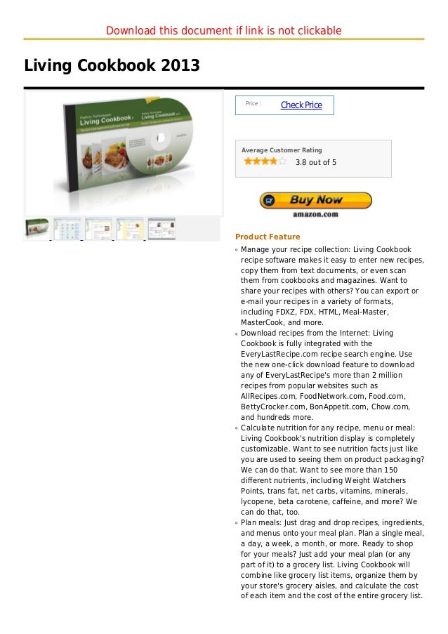 Download this document if link is not clickableLiving Cookbook 2013                                       Price :         ...