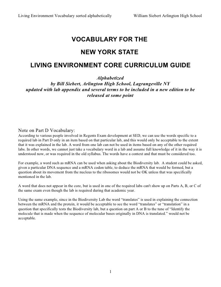 Living Environment Vocabulary sorted alphabetically                      William Siebert Arlington High School            ...