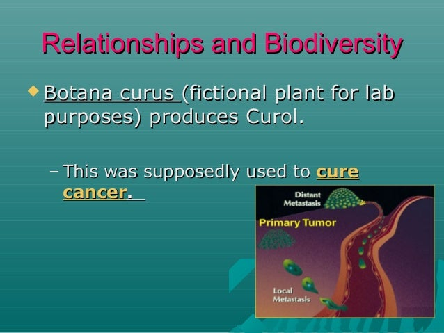 Relationships and Biodiversity  Botana  curus (fictional plant for lab purposes) produces Curol. – This was supposedly us...