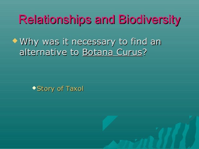 Relationships and Biodiversity  Why  was it necessary to find an alternative to Botana Curus?   Story  of Taxol