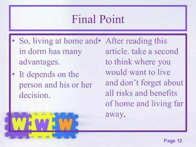 advantages of living with parents in college essay Live with your parents after graduation if your postgraduation roommates will be (or are) mom and dad, check out this advice on making the most of living at home.