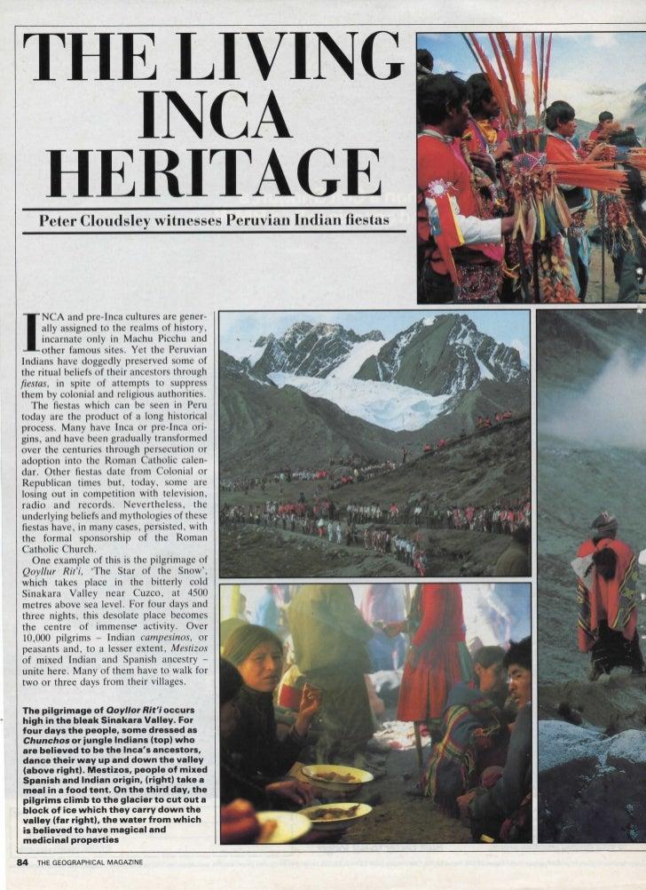 T H E LIVING          INCA      HERITAGE       Peter Cloudsley witnesses Peruvian Indian fiestas I       NCA and pre-Inca ...