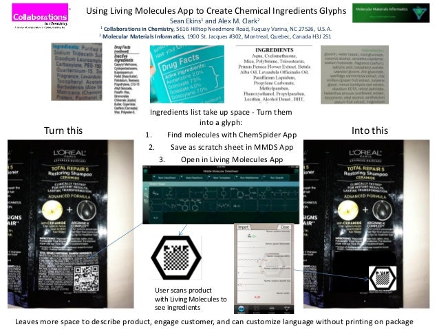 Ingredients list take up space - Turn theminto a glyph:1. Find molecules with ChemSpider App2. Save as scratch sheet in MM...