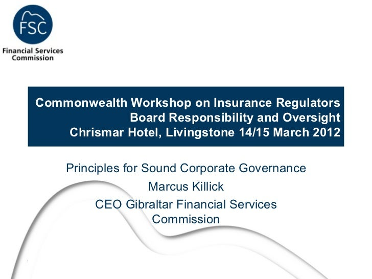 Commonwealth Workshop on Insurance Regulators                 Board Responsibility and Oversight        Chrismar Hotel, Li...