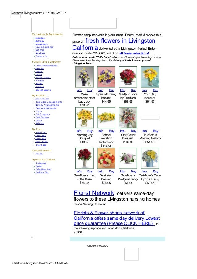 California/livingston.htm 09:23:04 GMT -->                Occasions & Sentiments          Flower shop network in your area...