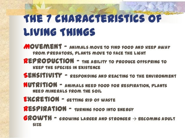 Characteristics Of Living Things Movement