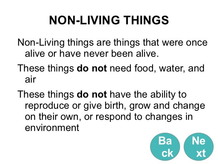 Living Things And Non Living Things Learning Object