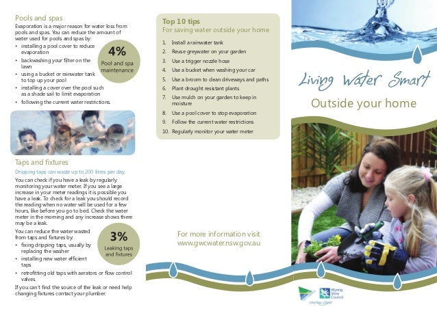 Pools and spas                                                         Top 10 tipsEvaporation is a major reason for water ...