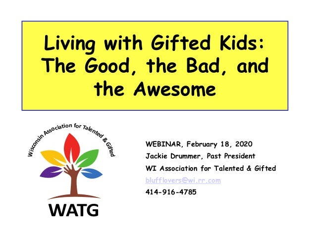 Living with Gifted Kids: The Good, the Bad, and the Awesome WEBINAR, February 18, 2020 Jackie Drummer, Past President WI A...