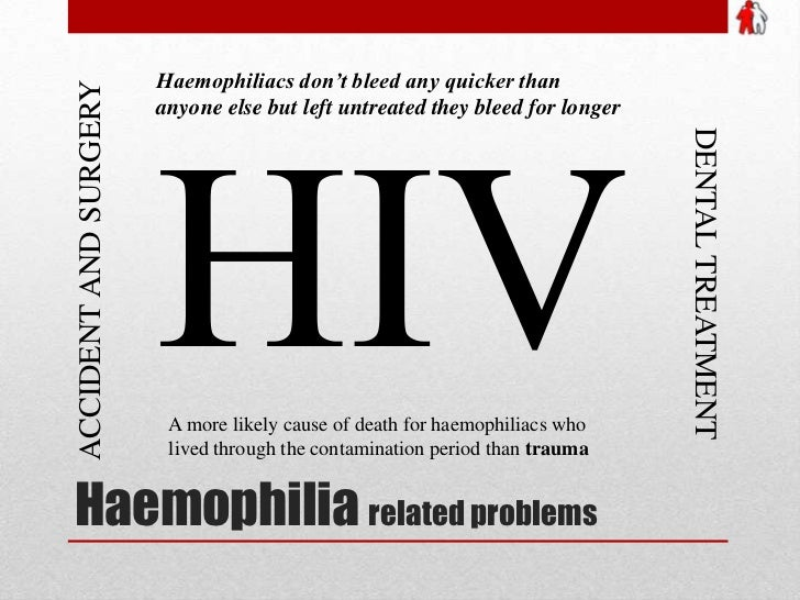 Haemophilia related problems<br />Haemophiliacs don't bleed any quicker than anyone else but left untreated they bleed for...
