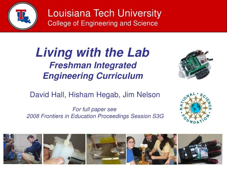 Louisiana Tech University        College of Engineering and Science       Living with the Lab       Freshman Integrated   ...