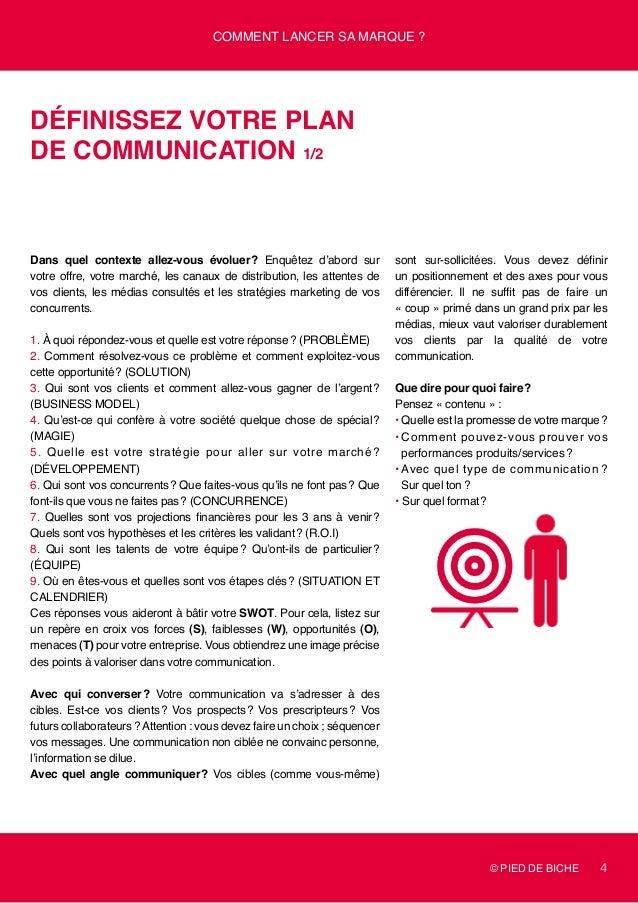 © PIED DE BICHE 4 Comment lancer sa marque ? Définissez votre plan de communication 1/2 Dans quel contexte allez-vous évol...
