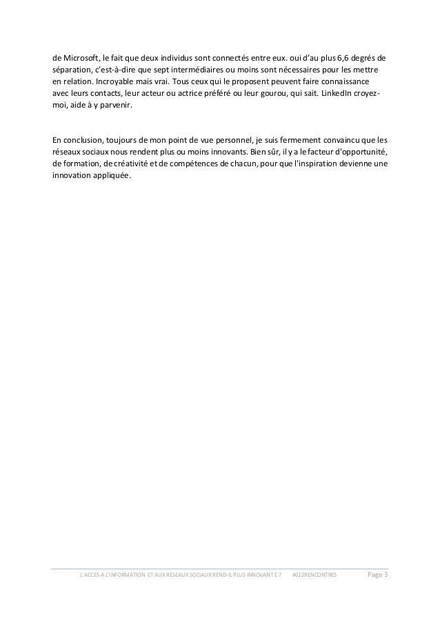 L'ACCES A L'INFORMATION ET AUX RESEAUX SOCIAUX REND-IL PLUS INNOVANT.E ? #612RENCONTRES Page 3 de Microsoft, le fait que d...