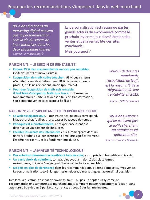 Pourquoi les recommandations s'imposent dans le web marchand.  RAISON N°1 – LE BESOIN DE RENTABILITE  Encore 35 % des sit...
