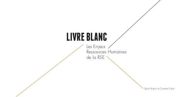 LIVREBLANC Les Enjeux Ressources Humaines de la RSE Sylvie Payoux et Constant Calvo