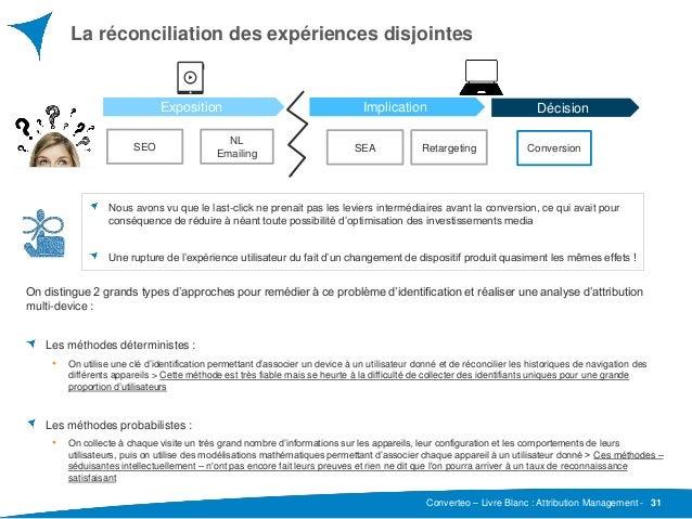 Converteo – Livre Blanc : Attribution Management - La réconciliation des expériences disjointes 31 On distingue 2 grands t...