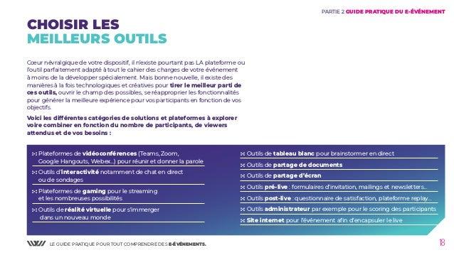 LE GUIDE PRATIQUE POUR TOUT COMPRENDRE DES E-ÉVÉNEMENTS. 18 PARTIE 2 GUIDE PRATIQUE DU E-ÉVÉNEMENT CHOISIR LES MEILLEURS O...