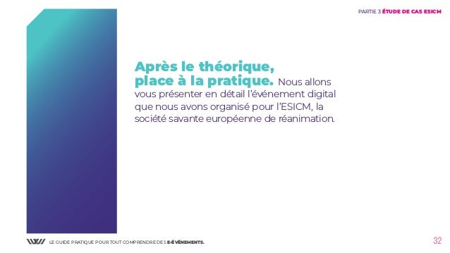 LE GUIDE PRATIQUE POUR TOUT COMPRENDRE DES E-ÉVÉNEMENTS. 32 PARTIE 3 ÉTUDE DE CAS ESICM Après le théorique, place à la pra...