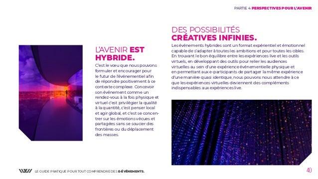 LE GUIDE PRATIQUE POUR TOUT COMPRENDRE DES E-ÉVÉNEMENTS. 40 DES POSSIBILITÉS CRÉATIVES INFINIES. Les événements hybrides s...
