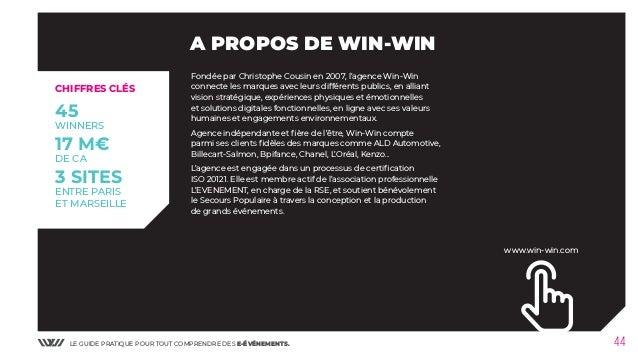 LE GUIDE PRATIQUE POUR TOUT COMPRENDRE DES E-ÉVÉNEMENTS. 44 A PROPOS DE WIN-WIN CHIFFRES CLÉS 45 WINNERS 17 M€ DE CA 3 SIT...