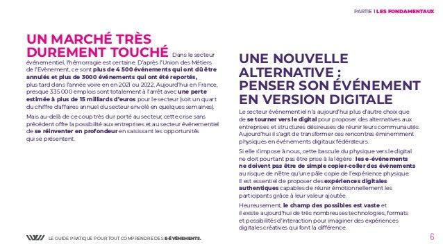 LE GUIDE PRATIQUE POUR TOUT COMPRENDRE DES E-ÉVÉNEMENTS. 6 UN MARCHÉ TRÈS DUREMENT TOUCHÉ Dans le secteur événementiel, l'...