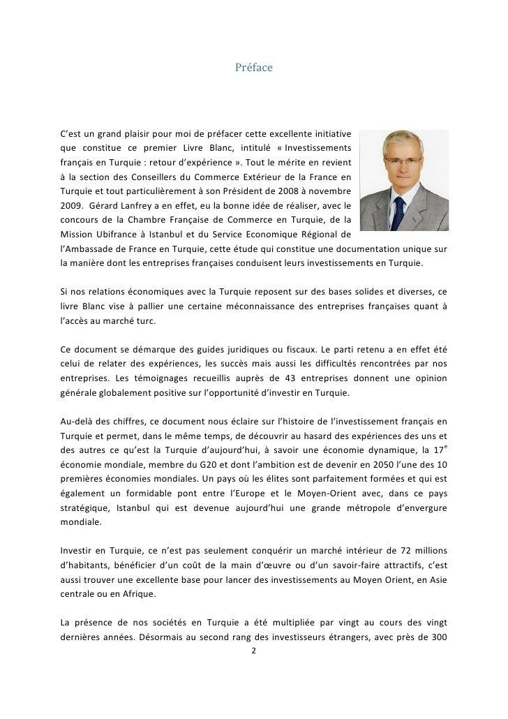 Livre blanc investissements turquie for Chambre de commerce francaise en turquie