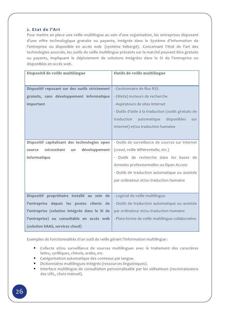 2. Etat de l'Art     Pour mettre en place une veille multilingue au sein d'une organisation, les entreprises disposent    ...